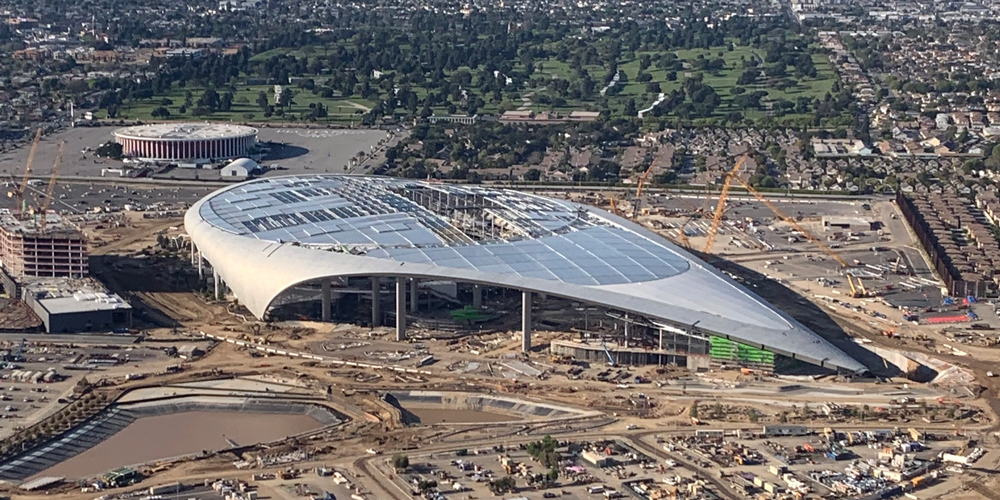 SoFI Stadium under construction in Inglewood, California